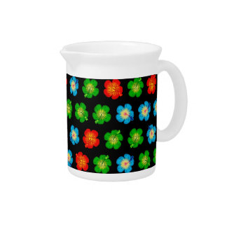 Tiny hibiscus pattern drink pitchers