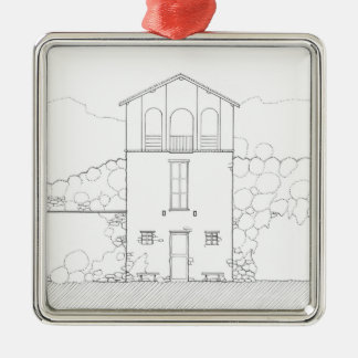 Tiny House Black and White Ink Drawing Square Metal Christmas Ornament