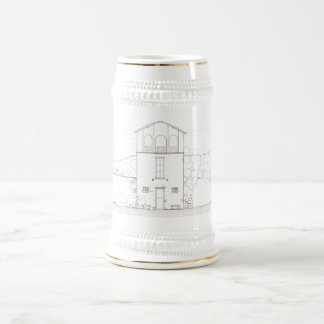 Tiny House Black & White Architecture Ink Drawing Beer Stein