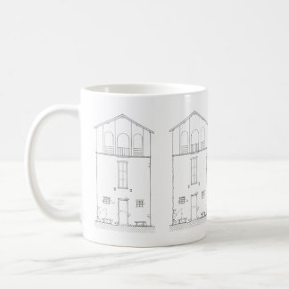 Tiny House Black & White Architecture Ink Drawing Coffee Mug
