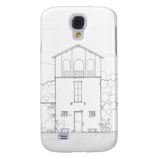 Tiny House Black & White Architecture Ink Drawing Galaxy S4 Cover