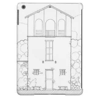 Tiny House Black & White Architecture Ink Drawing iPad Air Case