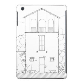 Tiny House Black & White Architecture Ink Drawing iPad Mini Cover