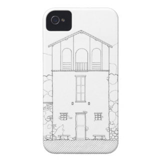 Tiny House Black & White Architecture Ink Drawing iPhone 4 Case-Mate Cases