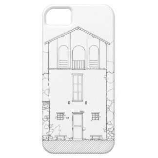 Tiny House Black & White Architecture Ink Drawing iPhone SE/5/5s Case