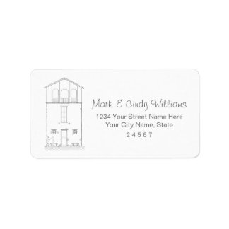 Tiny House Black & White Architecture Ink Drawing Label