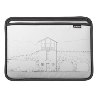 Tiny House Black & White Architecture Ink Drawing MacBook Sleeves
