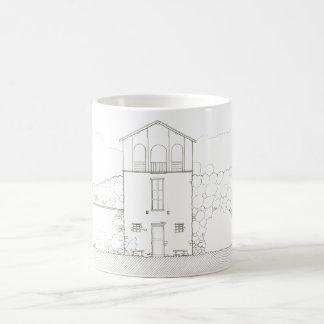 Tiny House Black & White Architecture Ink Drawing Magic Mug