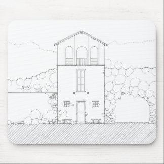 Tiny House Black & White Architecture Ink Drawing Mouse Pad