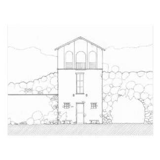 Tiny House Black & White Architecture Ink Drawing Postcard