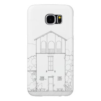 Tiny House Black & White Architecture Ink Drawing Samsung Galaxy S6 Cases
