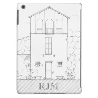 Tiny House Black & White Architecture Personalized Cover For iPad Air