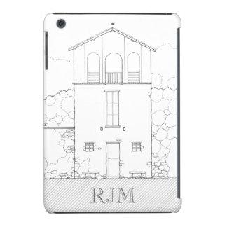 Tiny House Black & White Architecture Personalized iPad Mini Cover