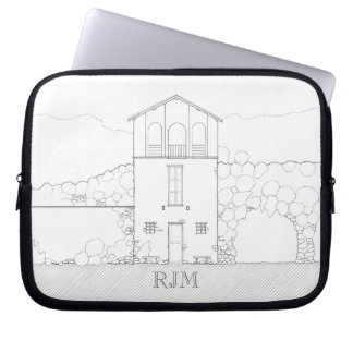 Tiny House Black & White Architecture Personalized Laptop Computer Sleeve