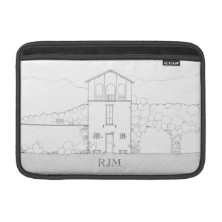 Tiny House Black & White Architecture Personalized MacBook Air Sleeves