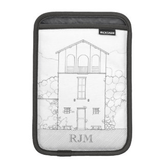 Tiny House Black & White Architecture Personalized Sleeve For iPad Mini