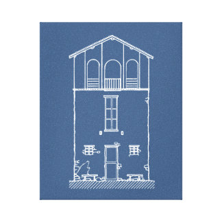 Tiny House Blue & White Blueprint Style Drawing Canvas Print
