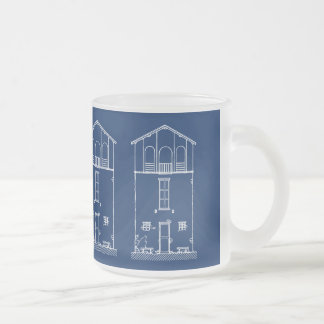 Tiny House Blue & White Blueprint Style Drawing Frosted Glass Coffee Mug