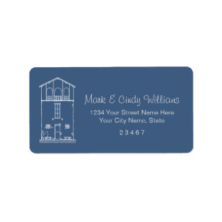 Tiny House Blue & White Blueprint Style Drawing Label