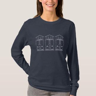 Tiny House Blue & White Blueprint Style Drawing T-Shirt