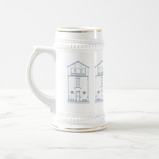 Tiny House Blueprint Drawing Beer Stein