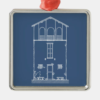 Tiny House Blueprint Drawing Blue and White Square Metal Christmas Ornament
