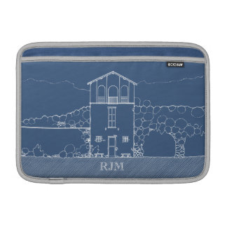 Tiny House Blueprint Drawing Blue Personalized MacBook Sleeve