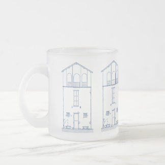 Tiny House Blueprint Drawing Frosted Glass Coffee Mug