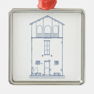 Tiny House Blueprint Drawing White and Blue Square Metal Christmas Ornament
