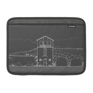 Tiny House Grey and White Chalkboard Drawing MacBook Sleeves