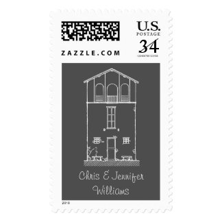 Tiny House Grey and White Chalkboard Drawing Postage