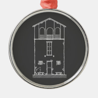 Tiny House Grey and White Chalkboard Drawing Round Metal Christmas Ornament