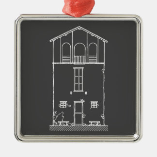 Tiny House Grey and White Chalkboard Drawing Square Metal Christmas Ornament