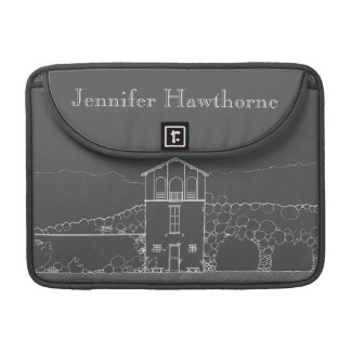 Tiny House Grey Chalkboard Drawing Personalized MacBook Pro Sleeve