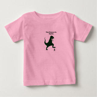 Tiny Humans Go Squish Funny Dinosaur Cartoon Baby T-Shirt