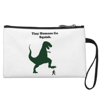 Tiny Humans Go Squish Funny Dinosaur Cartoon Wristlet Clutch
