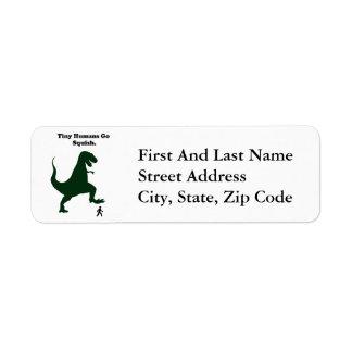 Tiny Humans Go Squish Funny Dinosaur Cartoon Label
