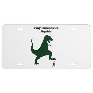Tiny Humans Go Squish Funny Dinosaur Cartoon License Plate