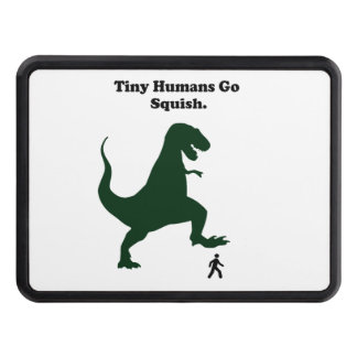 Tiny Humans Go Squish Funny Dinosaur Cartoon Trailer Hitch Covers