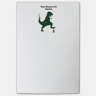 Tiny Humans Go Squish Funny Dinosaur Cartoon Post-it Notes