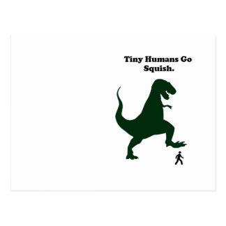 Tiny Humans Go Squish Funny Dinosaur Cartoon Postcard