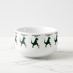 Tiny Humans Go Squish Funny Dinosaur Cartoon Soup Mug