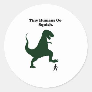 Tiny Humans Go Squish Funny Dinosaur Cartoon Sticker