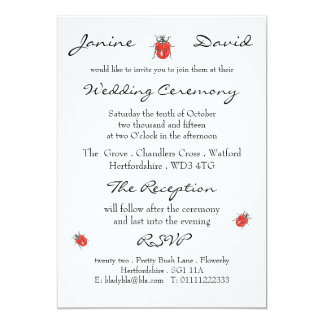 Tiny Ladybird/Ladybug Wedding Invitation