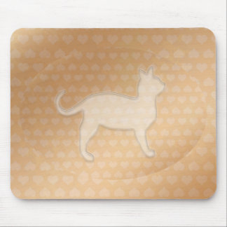 Tiny Little Hearts and White Pusssy Cat Mouse Pad