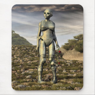 tiny little lost robot mouse pad
