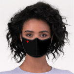 Tiny Love Heart Simple Plain Black Minimalist Cute Premium Face Mask