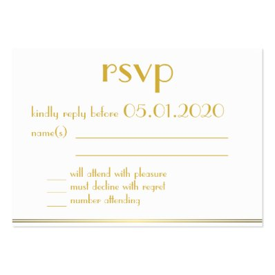Tiny Monogrammed Great Gatsby Wedding RSVP Cards Large Business Cards  Pack Of 100