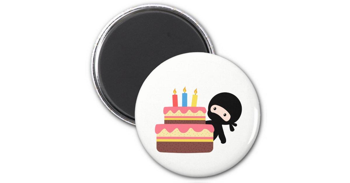 Peachy Tiny Ninja Behind Birthday Cake Magnet Zazzle Com Birthday Cards Printable Opercafe Filternl