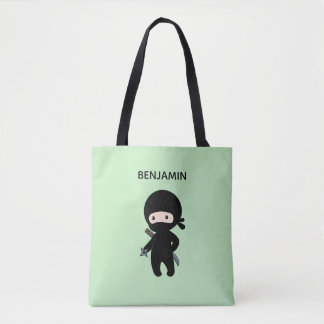 Tiny Ninja Custom Name on Green Tote Bag